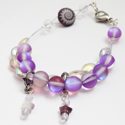 New! Purple Moonstone Counting Abacus Bracelet Row Counter | Atomic Knitting