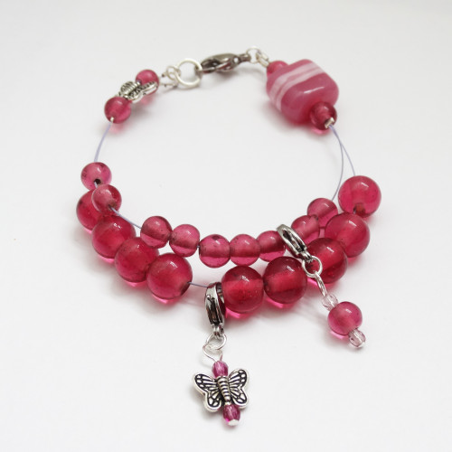 Raspberry Butterfly Counting Abacus Bracelet Row Counter | Atomic Knitting