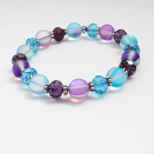 New! Aqua & Purple Crystal Moonstone Stretch Bracelet   Atomic Knitting