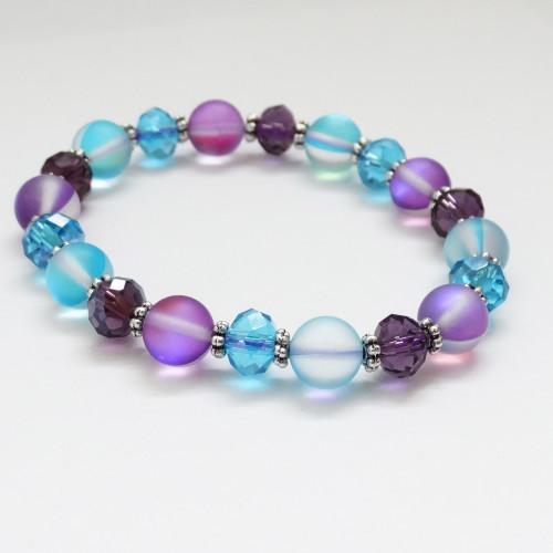 New! Aqua & Purple Crystal Moonstone Stretch Bracelet | Atomic Knitting