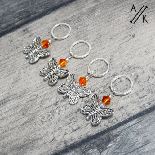 Fire Opal Crystal Butterfly Knitting Stitch Markers | Atomic Knitting
