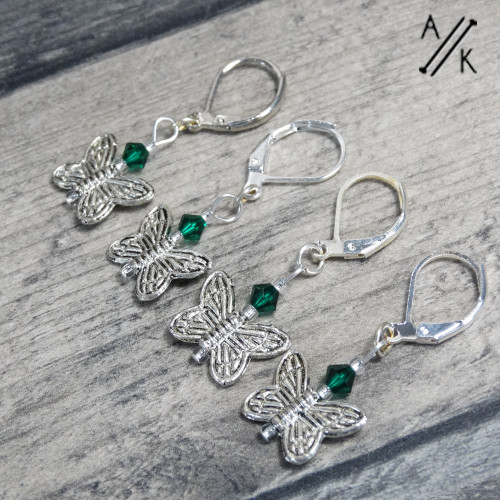 Emerald Crystal Butterfly Knitting Stitch Markers | Atomic Knitting