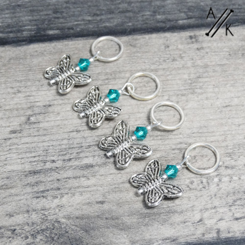 Deep Aqua Crystal Butterfly Knitting Stitch Markers | Atomic Knitting