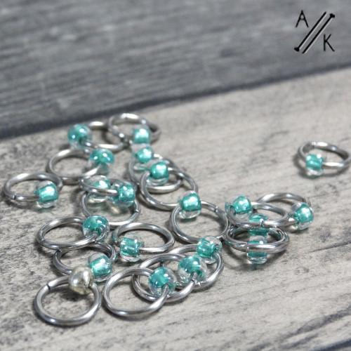 Sea Green Clapotis Jewel Stitch Markers | Atomic Knitting