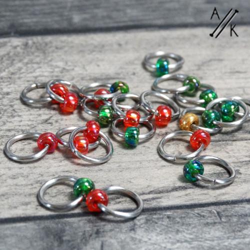 Crimson Starboard Clapotis Jewel Stitch Markers | Atomic Knitting