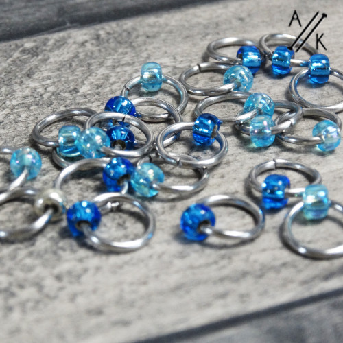 Blue Clapotis Jewel Stitch Markers | Atomic Knitting