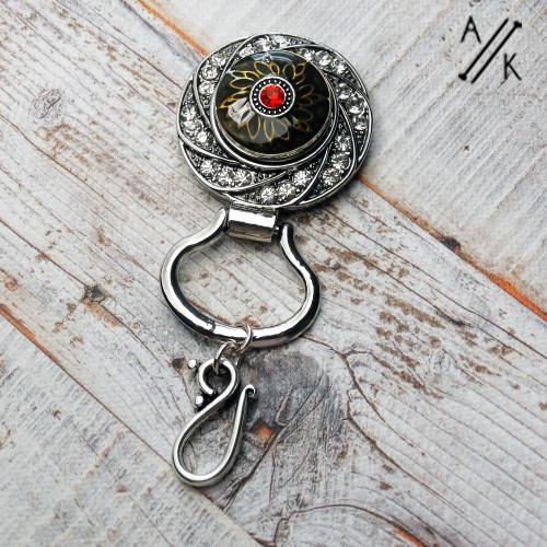 Siam Rhinestone & Bronzed Magnetic Portuguese Pin single stranded hook | Atomic Knitting