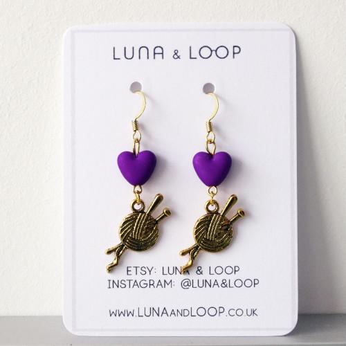Purple Heart & Yarn Dangle Drop Earrings