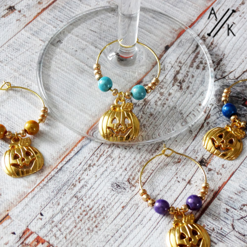 Pumpkin Halloween Golden Wine Glass Ring Charm Set of 4