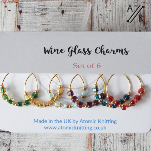 Beaded Gold Wine Glass Ring Charm Set of 6