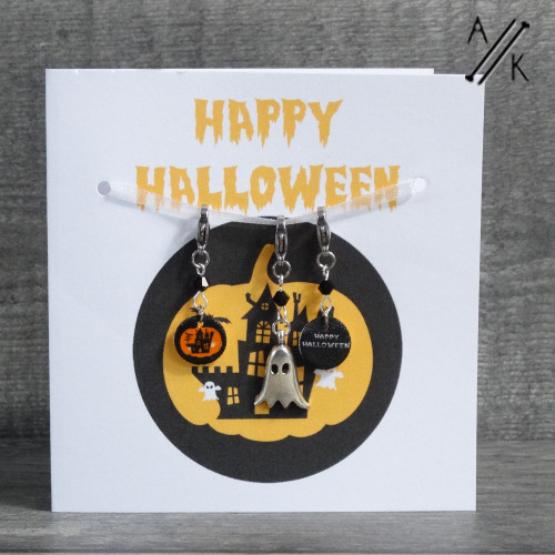 New! Happy Halloween Greetings Card with 3 Stitch Markers