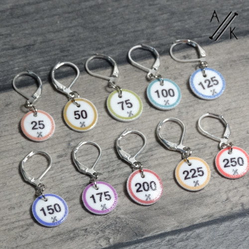 10 Numbered 'Coastal' Cast On Counting Stitch Markers in 25- 250 | Atomic Knitting