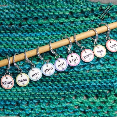 NEW! 9 'Coastal' Instructional Stitch Marker Set