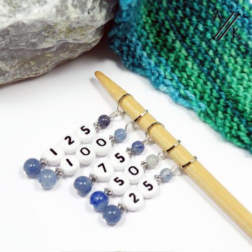 Blue Aventurine Gemstone Stitch Marker Counting Set | Atomic Knitting