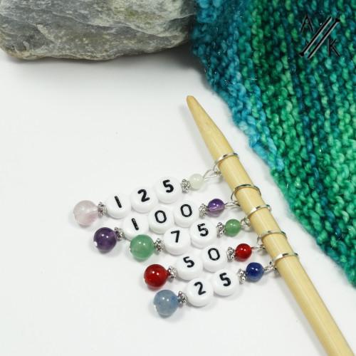 Mixed Gemstone Stitch Marker Counting Set | Atomic Knitting