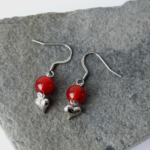 Carnelian Gemstone & Silver Heart Dangle Drop Earrings