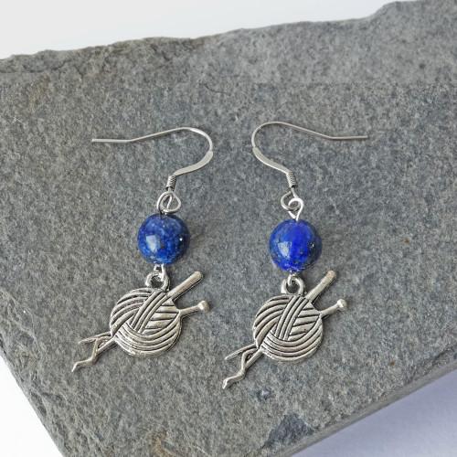 Lapis Lazuli Gemstone & Silver Yarn Dangle Drop Earrings