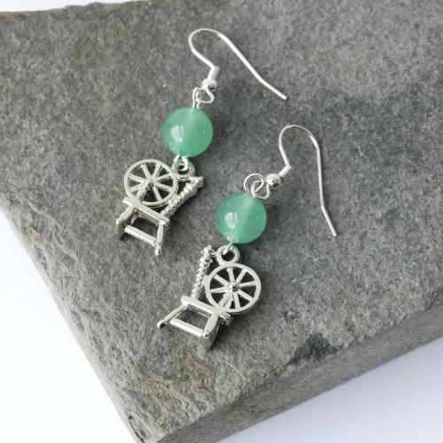 Green Aventurine Gemstone & Silver Spinning Wheel Dangle Drop Earrings