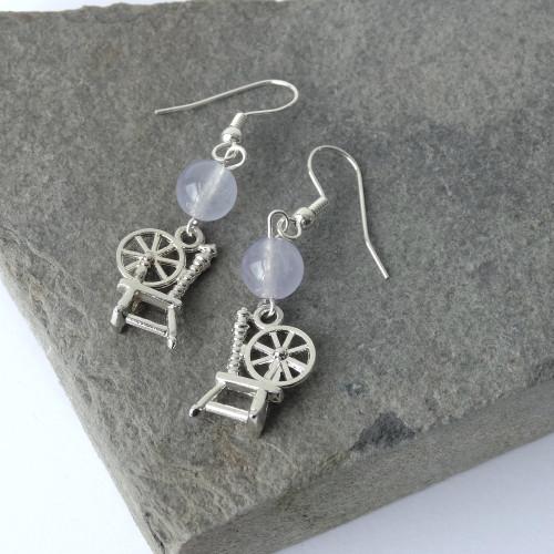 Sky Agate Gemstone & Silver Spinning Wheel Dangle Drop Earrings