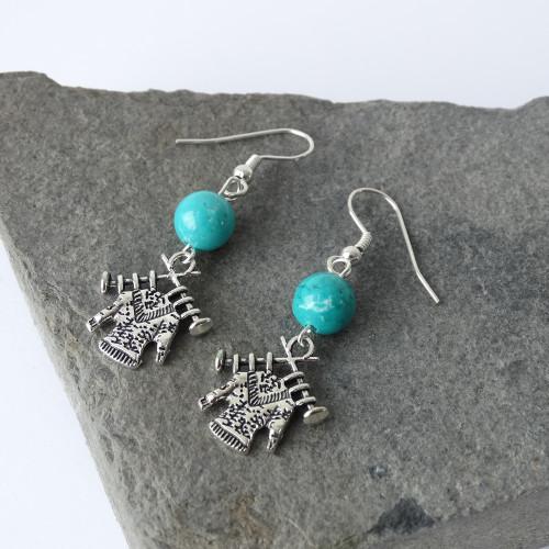Turquoise Gemstone & Silver Jumpier Sweater Dangle Drop Earrings