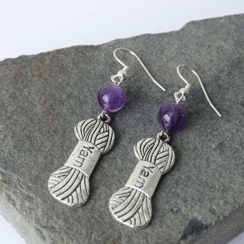 Amethyst Gemstone & Silver Yarn Skein Dangle Drop Earrings