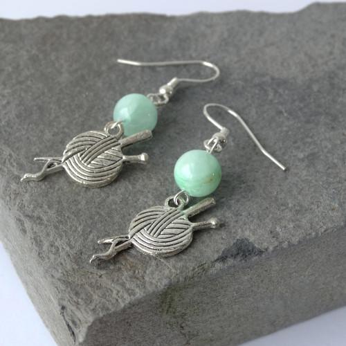 Mashan Jade & Silver Yarn & Needles Dangle Drop Earrings