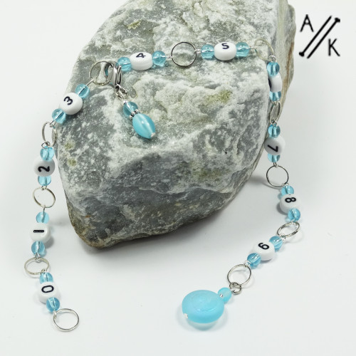 Aqua Bead Numbered 99 Chain Row Counter
