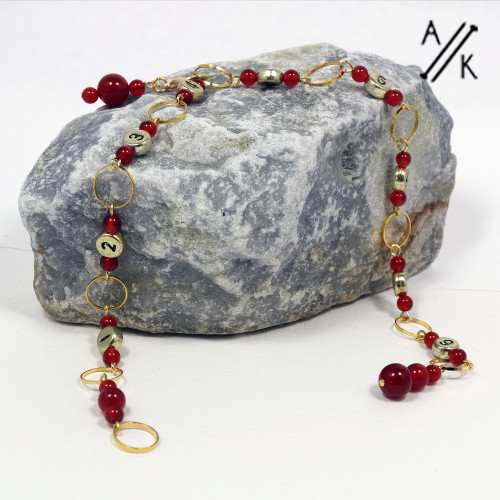 Carnelian Gemstone Bead Numbered 99 Chain Row Counter