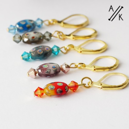 Colour Oval Glass Stitch Markers - MYM set of 5