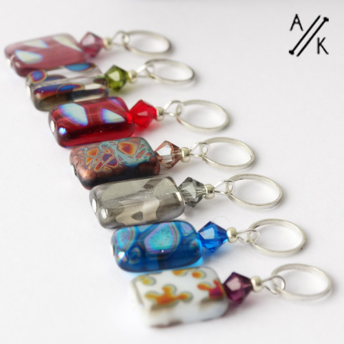 New! Mixed Rectangular Silver Glass Stitch Markers - MYM set of 7