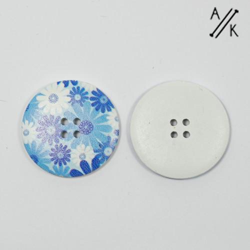 Round wooden Button - 40mm - Blue flowers x1