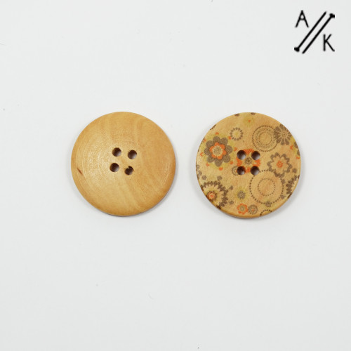 Round wooden Buttons - retro flowers- 30mm