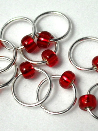10 Red Jewel Beaded Stitch Markers 6mm