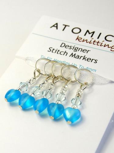 Aquamarine Heart Stitch Markers   Atomic Knitting