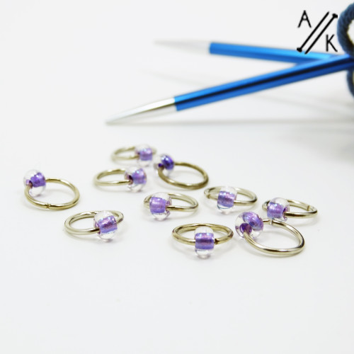 Purple Jewel Stitch Markers 6mm | Atomic Knitting