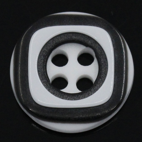Black Resin 4 hole Button - 12.5mm - Pack of 10