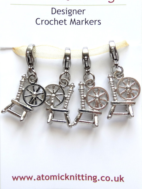Antique Silver colour Spinning Wheels Crochet Stitch Markers
