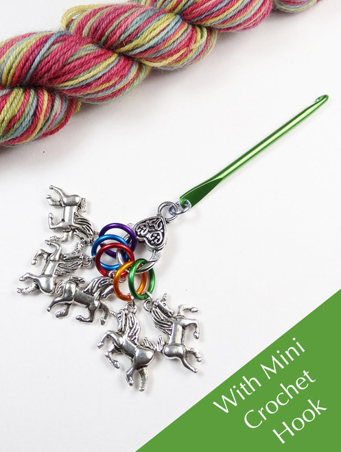 Unicorn Stitch Markers on split rings with a mini crochet hook holder