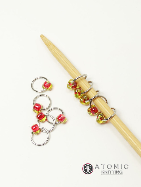 Rhubarb Jewel Stitch Markers
