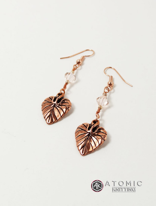 Violet Leaf Antique Copper & Swarovski Earrings