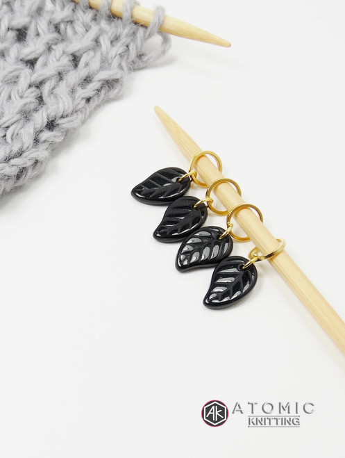Black Leaf Stitch Markers