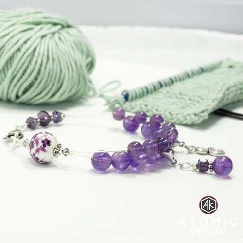 Amethyst Bead Counting Abacus Bracelet Row Counter