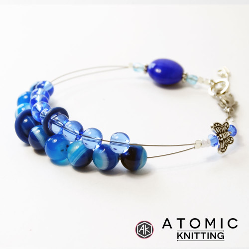 Blue Agate  & Butterfly Counting Abacus Bracelet Row Counter