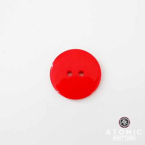 Round Acrylic Button 2 holes -Red - 22mm