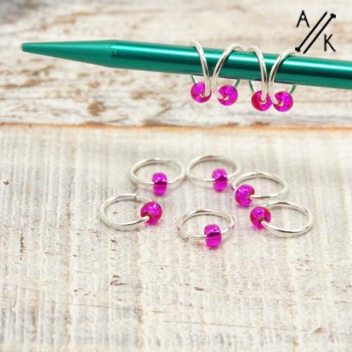 Flirty Fuchsia 5mm Jewel Stitch Markers