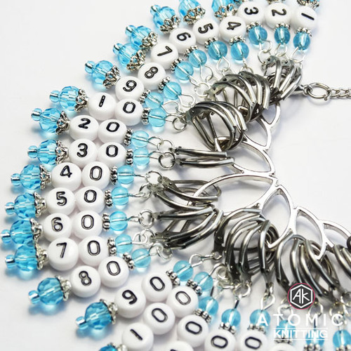 Aqua Chatelaine Necklace Numbered Counting Stitch Markers 1-10, 20-200 - set of 29