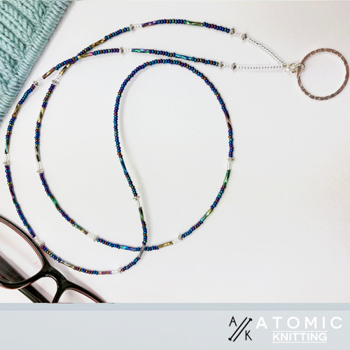 Beaded spectacle/glasses holder by Atomic Knitting