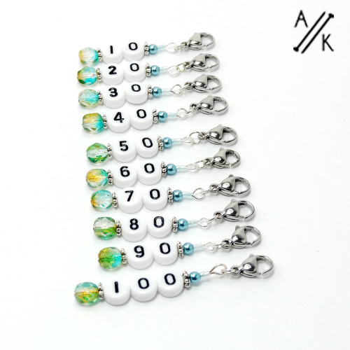 Cerulean Pearl Numbered Counting Stitch Markers 10-100 (set of 10)