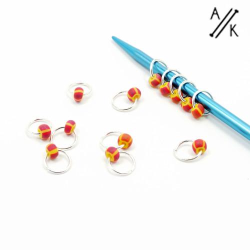 Rhubarb and Custard Jewel Stitch markers   Atomic Knitting