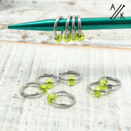 Tiny Lima Lime Jewel  Stitch Markers | Atomic Knitting